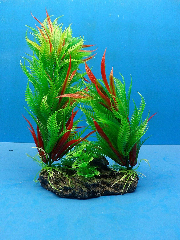 Fish Aquariums Plastic Plant W Heavy AM034A Omaha Mall H x gift Rock Base 11