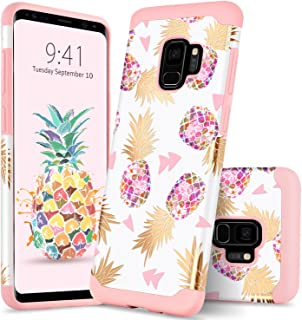 Galaxy S9 Case Samsung S9 Case Colorful Pineapple GUAGUA Slim Hybrid Hard PC Soft Rubber Cover Anti-Scratch Shockproof Protective Case for Samsung Galaxy S9 Case for Girls&Women Rose Gold/Pink