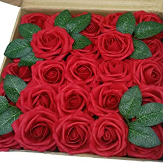 J-Rijzen Jing-Rise Artificial Flowers 50pcs Real Looking Dark Red Fake Roses for Wedding Flowers Centerpieces Bridal Bouquet Wedding Cake Home Decorations (Dark Red)
