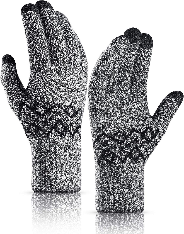 TRENDOUX Winter Gloves Women Men - Thick -20°F Knit Touch Screen Running Gloves