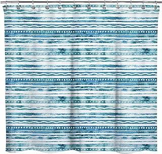 Sunlit Design Blue Water Ripple Drawing Stripes Fabric Shower Curtain, Modern Bohemian Style Bathroom Decoration Curtains