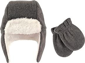 Hudson Baby Unisex Baby Cozy Fleece Sherpa Trapper Hat and Mitten Set