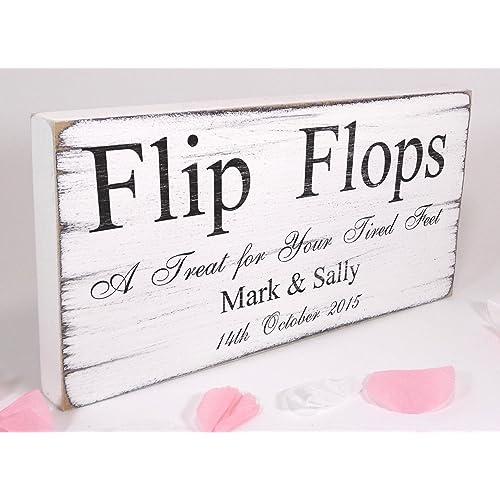 63c3c5fdd TheSignSmithUK Personalised - Flip Flops - Free Standing White Vintage  Wedding Sign - Shabby but Chic