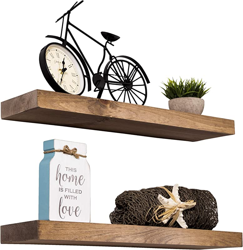 Imperative D Cor Floating Shelves Rustic Wood Wall Shelf USA Handmade Set Of 2 Special Walnut 24 X 5 5