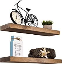 "Imperative Décor Floating Shelves Rustic Wood Wall Shelf USA Handmade | Set of 2 (Special Walnut, 24"" x 5.5"")"