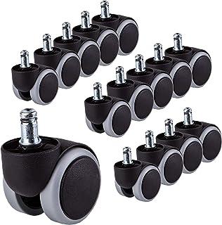 para 3 sillas Ruedas de goma Silla de oficina de 50 mm Rueda giratoria Reemplazo Ruedas gemelas Juego de electrodomésticos y equipo sin rasguños (15)