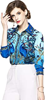 Womens Paisley and Peacock Shirts Casual Long Sleeve Button-Down Blouse