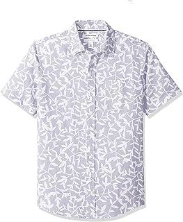 Camisa de lino a rayas, de manga corta y corte entallado para hombre