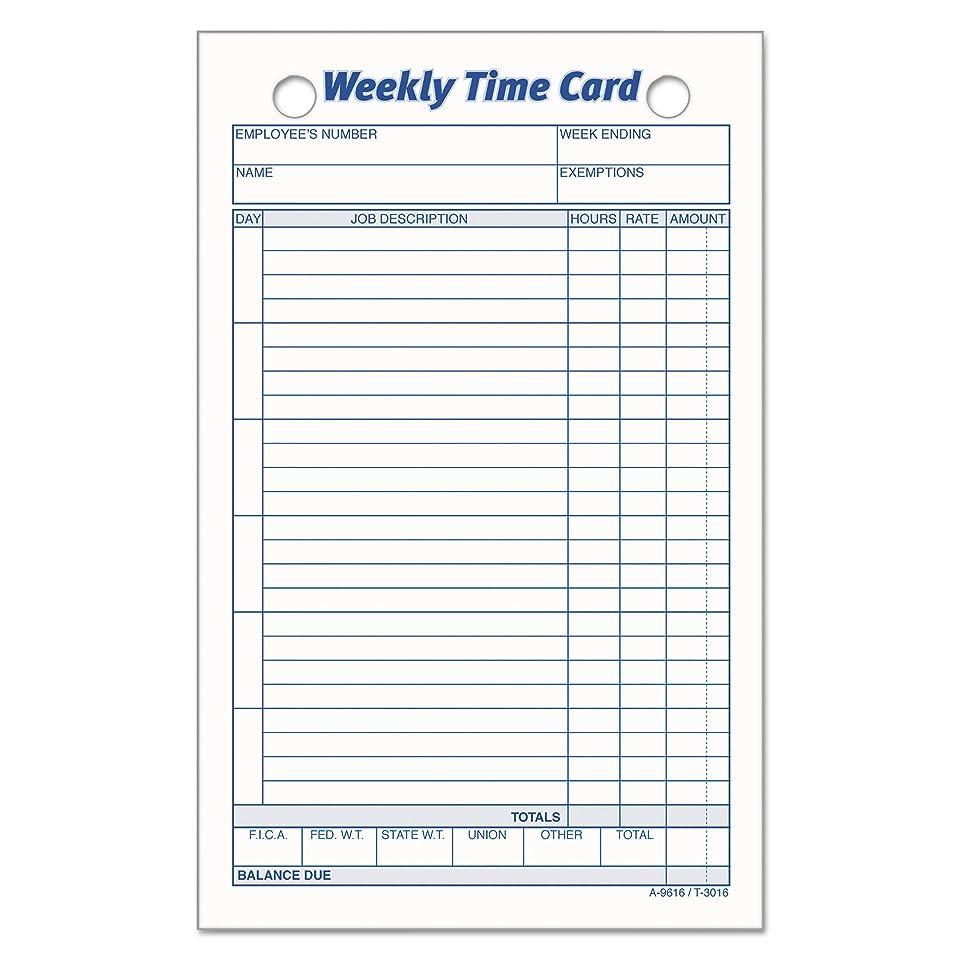 判決とらえどころのない永遠のTOPS 3016 Employee Time Card, Weekly, 4 1/4 x 6 3/4 (Pack of 100)