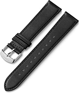 Timex 20mm Genuine Leather Quick-Release Strap – Stitched Black with Silver-Tone Buckle