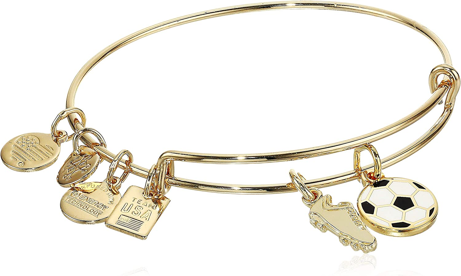 Alex and Ani Collaborations Expandable Bangle for Women, Team USA Soccer Duo Charms, Shiny Gold Finish, 2 to 3.5 in (AS20EBUS01SG)