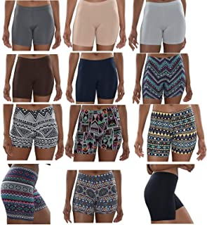 Womens 12 Pack Buttery Soft Brushed Active Yoga Stretch Mini -Bike Short Boxer Briefs