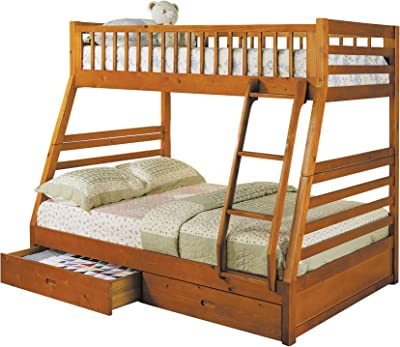 Benzara BM158911 Wooden Twin Over Full Bunk Bed, Brown