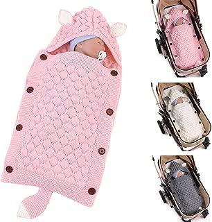 Haokaini Newborn Baby Hooded Sleeping Bags, Warm Swaddling Blankets Wraps for Infant, Ear Tail Design Knitted Crochet Sleeping Blanket Sack-Pink