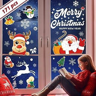 171 pegatinas navidad reutilizables, 7 hojas de pegatinas navidad para ventanas visible en ambos lados, vinilos navidad de...