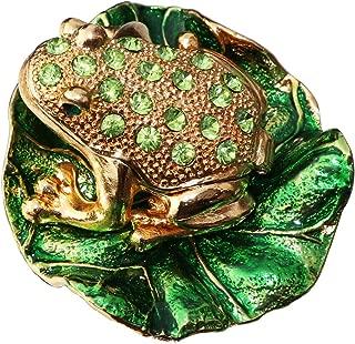 Waltz&F Lotus Green Diamond Frog Hand Painted Enameled Decorative Hinged Jewelry Animal Trinket Box