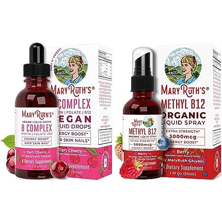 Liquid Vitamin B Complex & Vitamin B12 Spray Bundle by MaryRuth's   B Complex Liquid (Tart Cherry), 1oz   Extra Strength Vitamin B12 (Methyl) Liquid Spray, 1oz   Vegan, Non-GMO