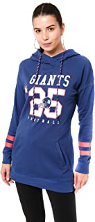 Ultra Game NFL Women's French Terry Tunic Hoodie Pullover Sweatshirt