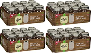 Ball Regular Mouth Smooth Sided Pint 16 Oz. Glass Mason Jars with Lids and Bands, 12 Count (4 Pack)