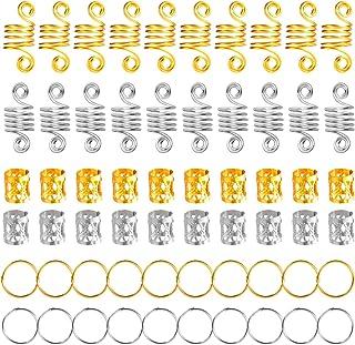 120 Piezas de Dreadlocks de Bobina de Pelo de Aluminio Anillos de Trenza de Pelo Puños de Pelo de Metal Abalorios de Trenz...