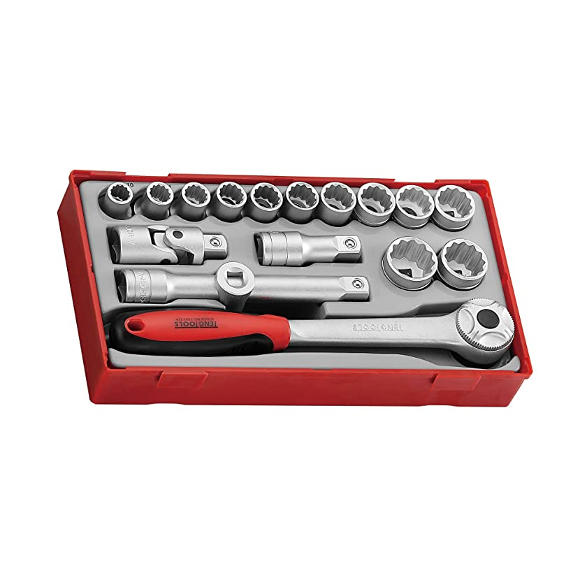 Teng Tools 17 Piece 1/2 Inch Drive Metric 12 Point Regular/Shallow Socket Set Tool Tray (10mm - 24mm) With Ratchet, Universal Joint, Extensions & T-Bar Adaptor - TT1218