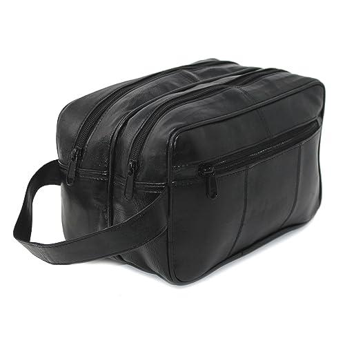 86c591a24a RAS Men s Black Large Genuine Leather Travel Overnight Wash Gym Bag