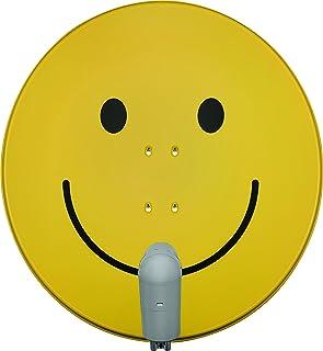 TechniSat SATMAN 850 PLUS   Satellitenschüssel (85 cm Sat Spiegel mit Masthalterung und UNYSAT Quattro LNB im Wetterschutz Gehäuse, Multischalter wird benötigt) gelb mit Smiley