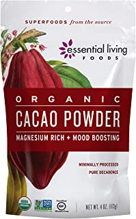 Essential Living Foods Organic Cacao Powder, Healthy Unsweetened Chocolate Powder for Smoothies, Desserts, Vegan, Superfood Protein Nutrients, Non-GMO, Gluten-Free, Kosher, 4 Ounce Resealable Bag