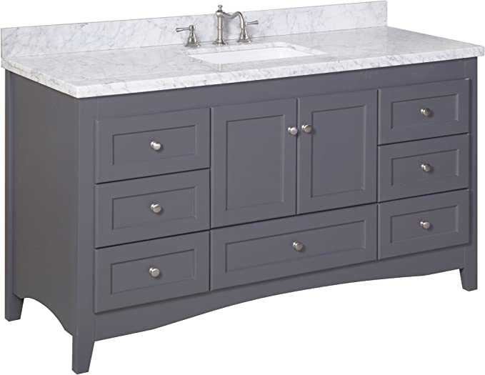 Abbey 60 Inch Single Bathroom Vanity Carrara Charcoal Gray Includes Charcoal Gray Cabinet With Authentic Italian Carrara Marble Countertop And White Ceramic Sink Home Improvement