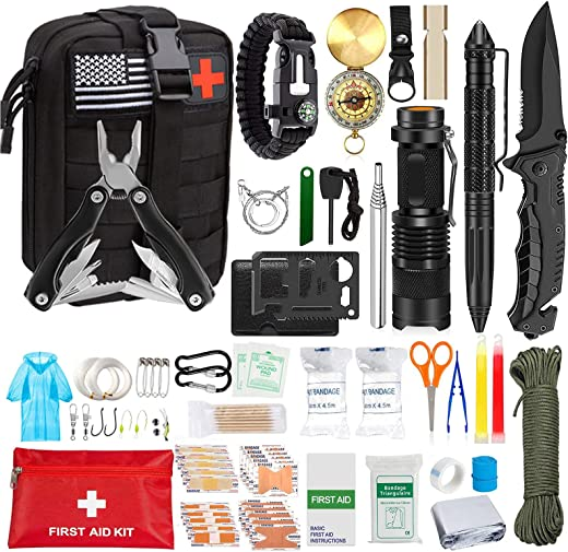 Emergency Survival Kit, First Aid Kit, Professional Survival Equipment Tools, Emergency Multi-Function Kit, Including Pliers, Pen Blanket, Flashlight, Compass, Suitable for Camping, Outdoor Adventure