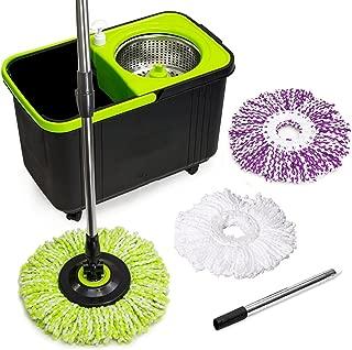 Simpli-Magic 79117 Spin Mop Cleaning Kit, Mop & Refills, Black/Green