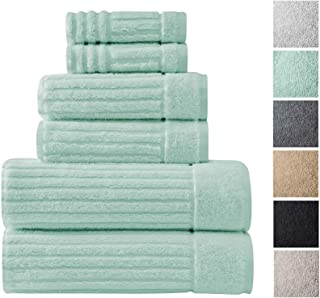 Classic Turkish Towels 6 Piece Heavy Duty Fast Drying Bath Sets Made with 100% Turkish Cotton - Includes 2 Fingertip Towels (Sea Foam)