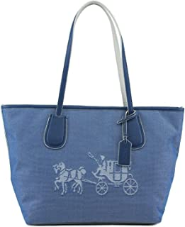 Embossed Horse and Carriage Taxi Denim Leather Satchel 35337M