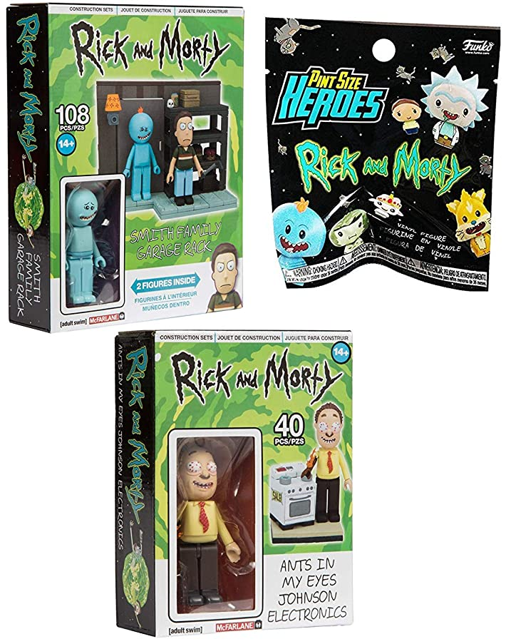 Characters Rick and Morty Figure Shwifty Minis Vinyl Blind Bag Pint Size Heroes Bundled with The Smith Family Garage Rack + Ants in My Eyes Johnson Electronics Toys 3 Items