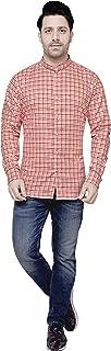 COTTON LEAF APPARELS Mens Casual Cotton Full Sleeve Checks Shirt with Mandarin Collar