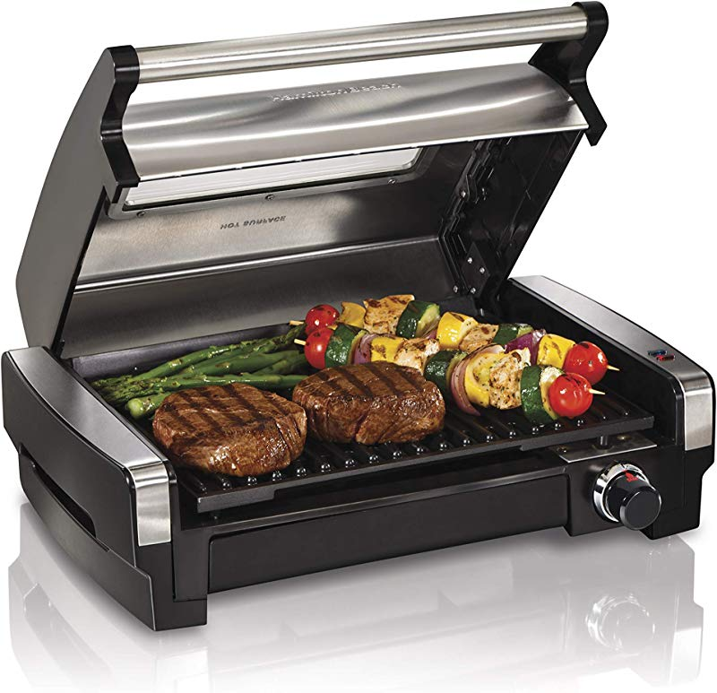 Hamilton Beach 25361 Electric Indoor Searing Grill With Removable Easy To Clean Nonstick Plate Viewing Window Stainless Steel