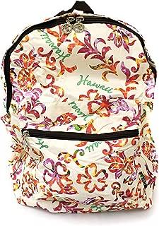 Hawaiian Print Foldable Easy Fold Backpack in Hibiscus Floral Hawaii Print in Cream