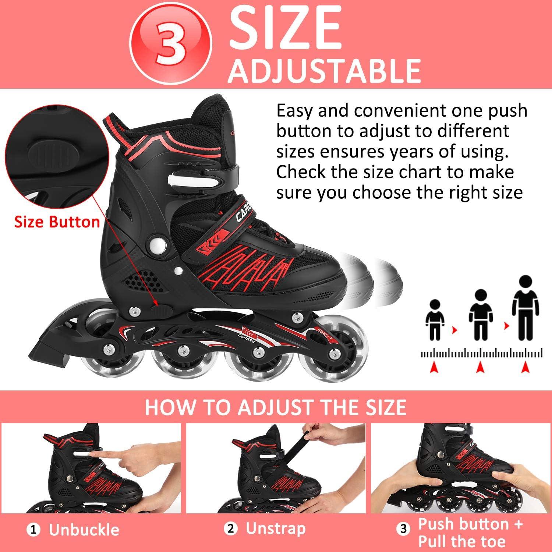 Caroma Kids Inline Skates Adjustable Suitable for Adults,Fun Flashing Roller Skates Blade Boys,Inline Skates Girls Light up Wheels,Inline Skates Skating Shoe for Women,Children Inline Skates