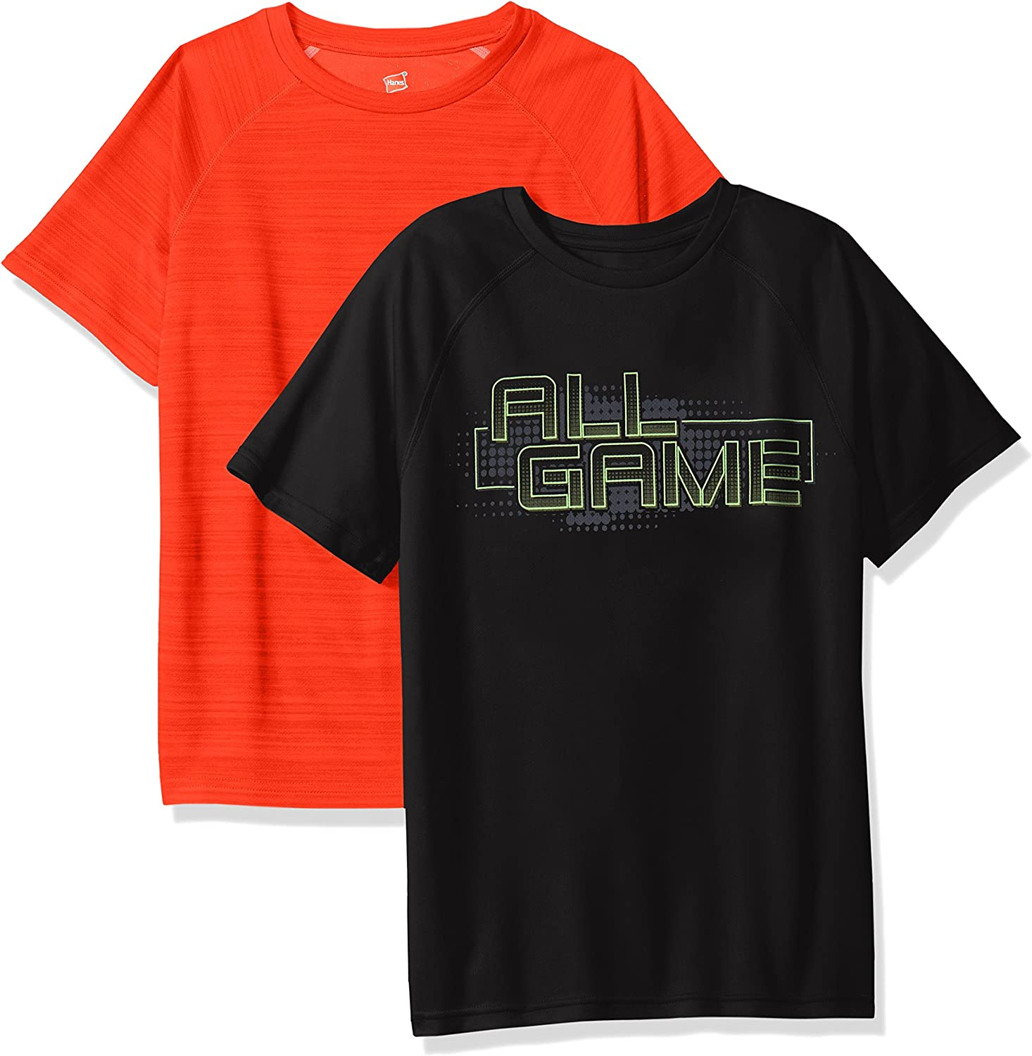 Hanes Boys' Big Sport Graphic & Heathered Performance Tee (Pack of 2)