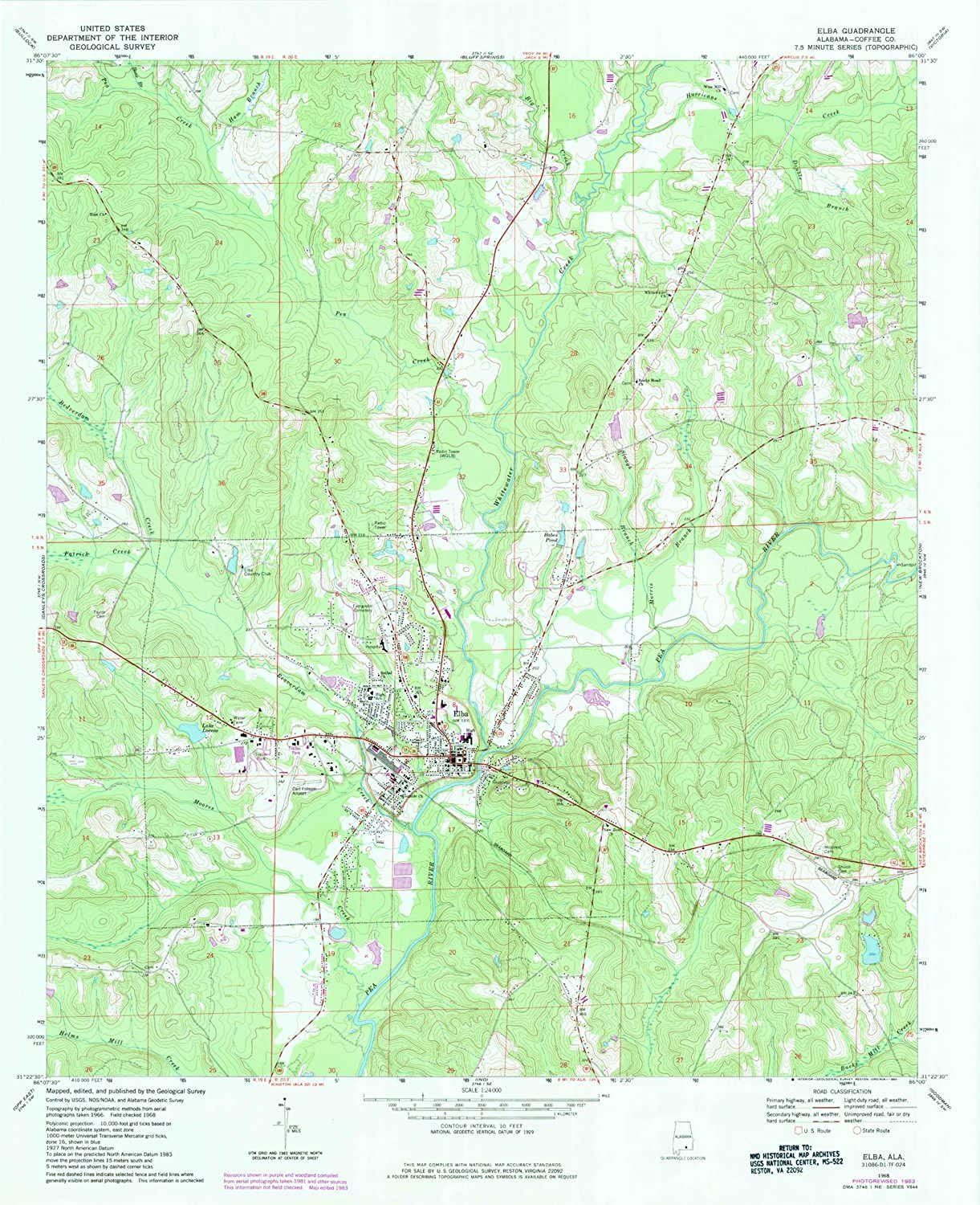 Elba AL topo map, 1 24000 Scale, 7.5 X 7.5 Minute, Historical, 1968, Updated 1984, 27 x 21.9 in