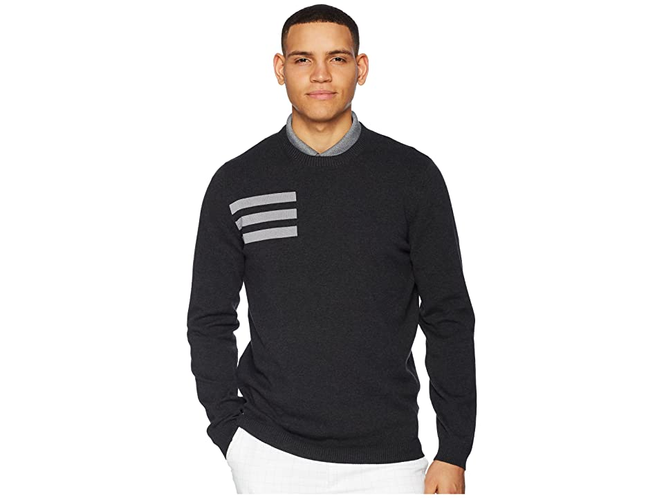 Image of adidas Golf 3-Stripes Crew Neck Sweater (Black Melange) Men's Long Sleeve Pullover