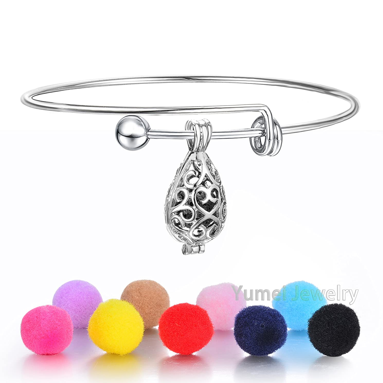 Aromatherapy Waterdrop Diffusert Bracelet Expandable Bangle Adjustable Wire Blank Bangle Bracelet with Lava Bead