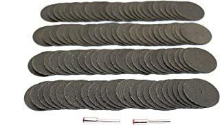 TEMO 100pc 1-1/2 inch (38mm) Reinforced Fiberglass Cutoff Wheel Disc with two 1/8 inch (3.2mm) Mandrel, fit Dremel and Compatible Rotary Tools