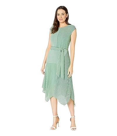 Vince Camuto Extend Shoulder Linear Motion Mix Print Dress (Emerald Leaf) Women