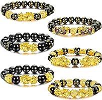Adramata 6 Piezas Feng Shui Pi Xiu Pulseras de Buena Suerte para Hombres y Mujeres Negro Cuenta de Mantra de Obsidiana...