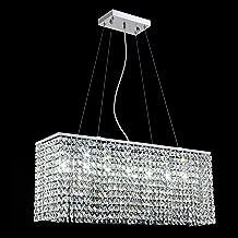 Yue Jia Luxury Contemporary Modern Linear Rectangular Dining Room Pendant Light Flush Mount Crystal Chandelier Lighting Fixture L31.5