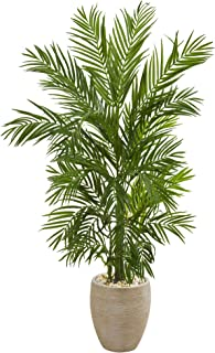 Nearly Natural 5' Areca Palm Tree in Sand Colored Planter Artificial Plant, Green