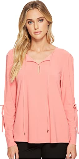 Ellen Tracy Tie Neck Top With Slit Sleeves