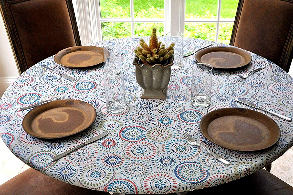 Covers For The Home Elastic Edged Flannel Backed Vinyl Fitted Table Cover Multi Color Geometric Pattern Large Round Fits Tables Up To 45 56 Diameter
