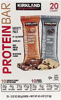 KIRKLAND SIGNATURE(カークランド) PROTEIN BAR プロテインバー Chocolate peanut butter chunk (チョコレート ピーナッツバター チャンク) & Cookies & Cream (クッキ...